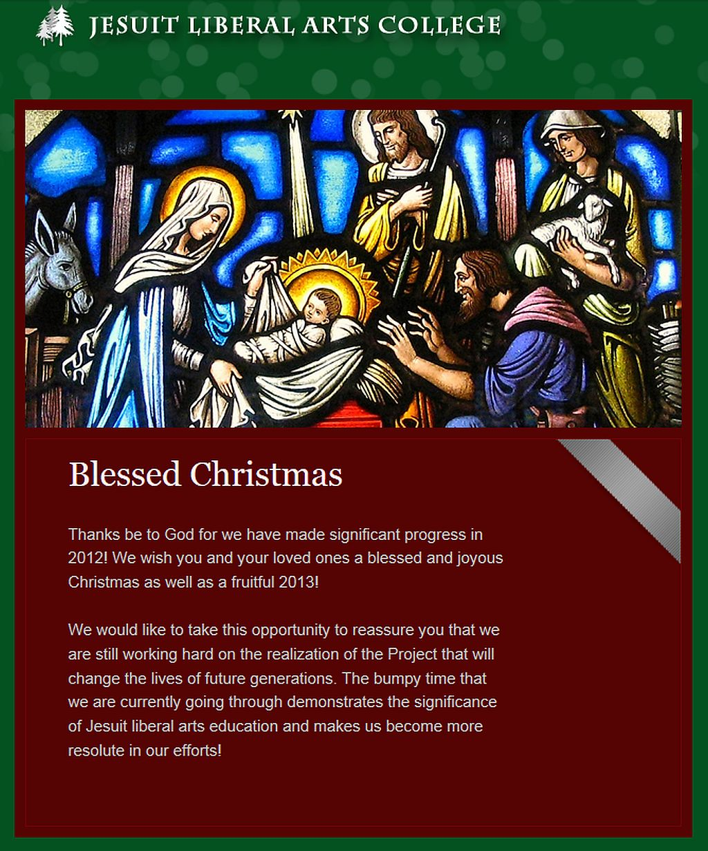 Christmas greetings from fr chow and jesuit liberal arts college kristyandbryce Images
