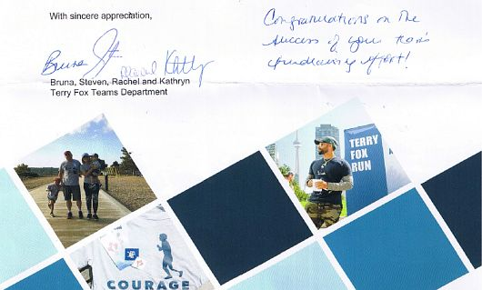 Acknowledgement from the Terry Fox Foundation